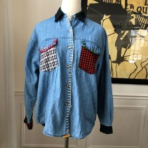 Vintage Jordache Chambray Denim Button Up S